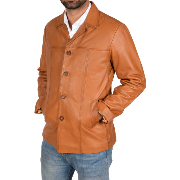 Mens Classic Blazer Buttoned Box Jacket Harris Tan side view