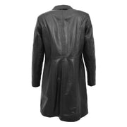 Ladies 3/4 Long Classic Fitted Soft Leather Knee Length Coat Laura Black Back
