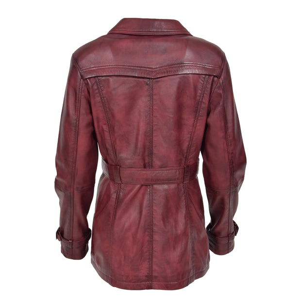 Womens Soft Leather Trench Coat Olivia Burgundy Back