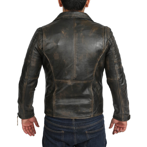 Mens Real Leather Biker Jacket Vintage Black Rub Off Slim Fit Coat Max Back