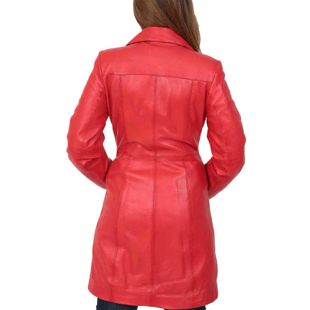 Womens 3/4 Button Fasten Leather Coat Cynthia Red Back