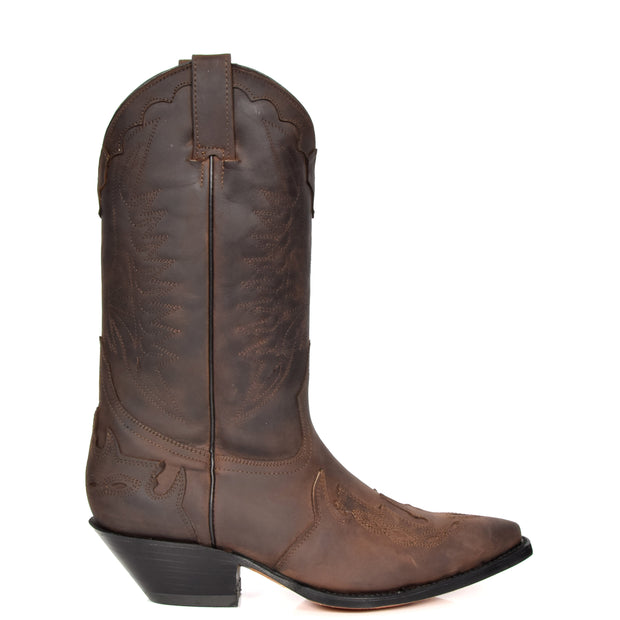 Real Leather Pointed Toe Cowboy Boots AZ350 Brown Side 1