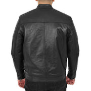 Trendy Genuine Soft Leather Biker Zipper Jacket For Men Rider Black Back