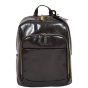 Womens Backpack Black Real Leather Large Travel Rucksack Cora Front
