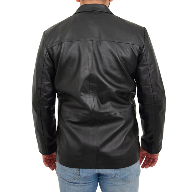 Real Leather Classic Blazer For Mens Smart Casual Black Jacket Kevin Back