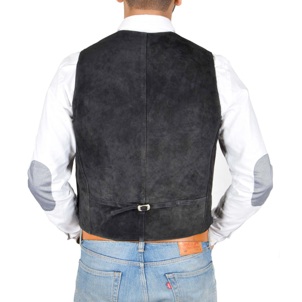 Mens Real Suede Leather Waistcoat Classic Vest Gilet Cole Black Back
