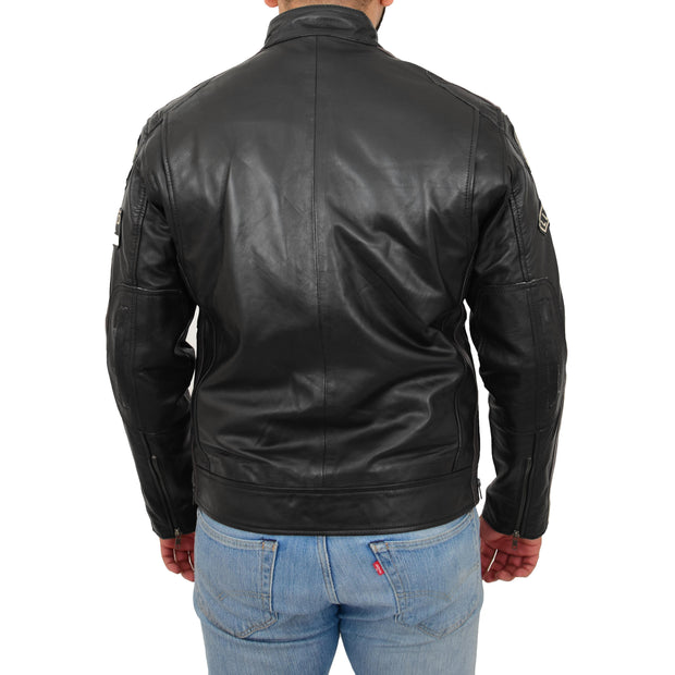 Mens BLACK Leather Biker Jacket Slim Fit Motor Sports Badges Coat Wayne Back