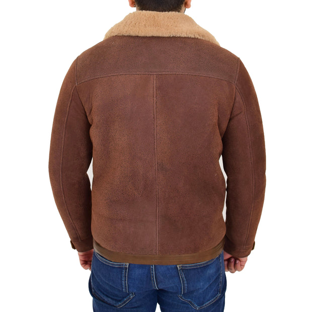 Mens Real Sheepskin Jacket Antique Flying Shearling B3 Coat Rocky Brown Back