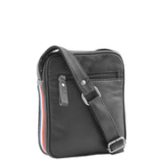 Mens Black Leather Cross Body Flight Bag Small Pouch Fred