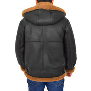 Mens Real Sheepskin Flying Jacket Hooded Brown Ginger Shearling Coat Hawker Back With Hood
