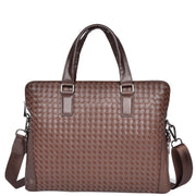 Unisex Slimline Brown Leather Briefcase Cross Work Satchel Shoulder Bag Benin Front
