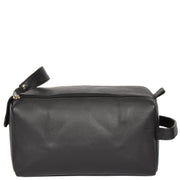 Genuine Soft Leather BLACK Travel Wash Bag A179 Front