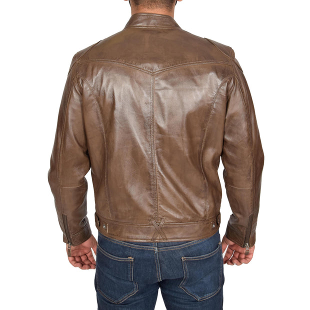 Mens Leather Jacket Biker Style Zip up Coat Bill Brown Back