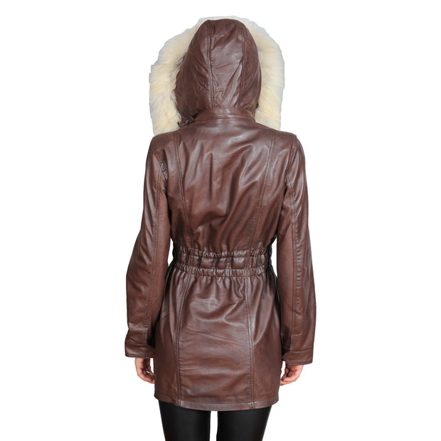 Womens Duffle Leather Coat Detachable Hood 3/4 Long Parka Jacket Mila Brown Back