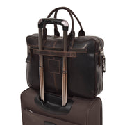 Pure Leather Briefcase Laptop Satchel Office Business Bag Otis Brown With Trolley