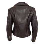 Womens Designer Leather Biker Jacket Fitted Quilted Coat Bonita Brown Back