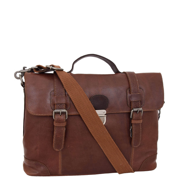 Mens Real Brown Cowhide Leather Briefcase Vintage Satchel Buck Front 2