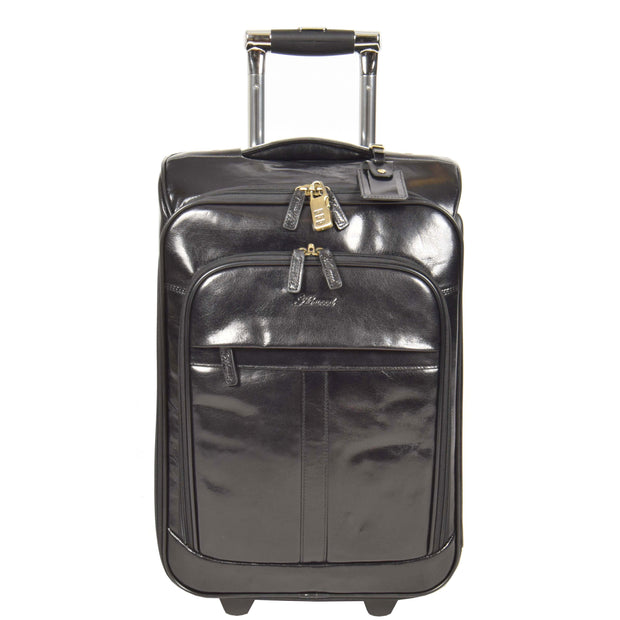 Real Leather Suitcase Cabin Trolley Hand Luggage A0518 Black Front