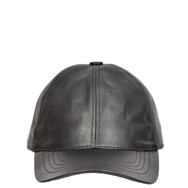 Genuine Leather Baseball Cap Sports Casual Viper Black Front
