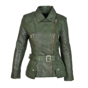 Womens Biker Leather Jacket Slim Fit Cut Hip Length Coat Coco Green Front 2
