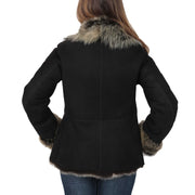 Womens Fitted Genuine Toscana Real Sheepskin Coat Pearl Black Back