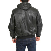 Mens Hooded Bomber Leather Jacket Seth Black back view