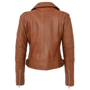 Womens Short Fitted Cognac Biker Style Real Leather Jacket Ayla Back