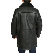 Mens Genuine Sheepskin 3/4 Long Reefer Trench Coat Bruno Black Back 1
