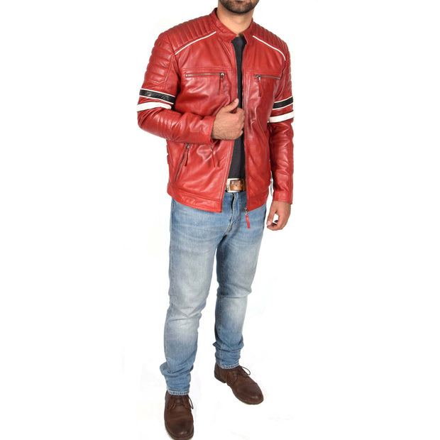 Mens Biker Leather Jacket Stripes Standing Collar Coat Ricky Red Full