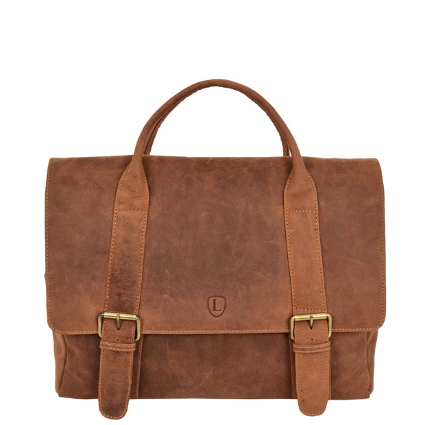 Men Briefcase Vintage Tan Hunter Leather Soft Satchel Laptop Bag Leon Front