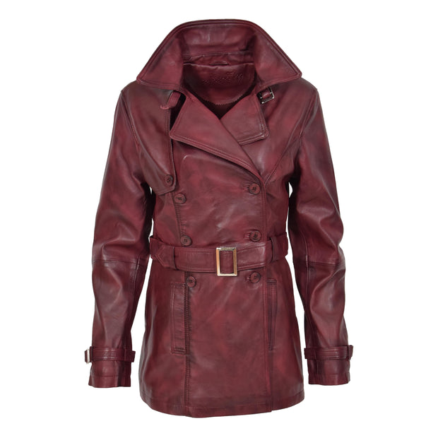 Womens Soft Leather Trench Coat Olivia Burgundy Front 1
