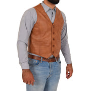 Mens Full Leather Waistcoat Gilet Traditional Smart Vest King Tan