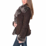 Womens Fitted Genuine Toscana Real Sheepskin Coat Pearl Brown Side