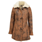 Womens Real Sheepskin Duffle Coat Hooded Shearling Jacket Armas Cognac Front 2