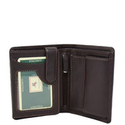 Mens Soft Durable Leather Wallet Cards Coins Notes ID Holder AV111 Brown Opne 1