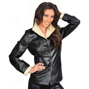Womens Soft Leather Blazer Hip Length Beige Trim Jacket Maggie Black Front