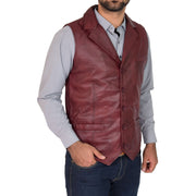 Mens Genuine Soft Leather Waistcoat Western Vest Yelek Rhys Burgundy Front 2