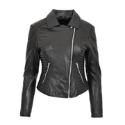 Womens Designer Leather Biker Jacket Fitted Quilted Coat Bonita Black Front