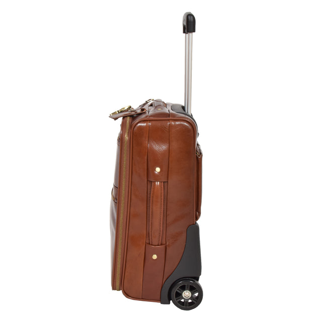 Exclusive Leather Trolley Hand Luggage Cabin Suitcase Concorde Chestnut Side 1