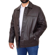 Gents Real Leather Button Box Jacket Classic Regular Fit Coat Luis Brown Open 2
