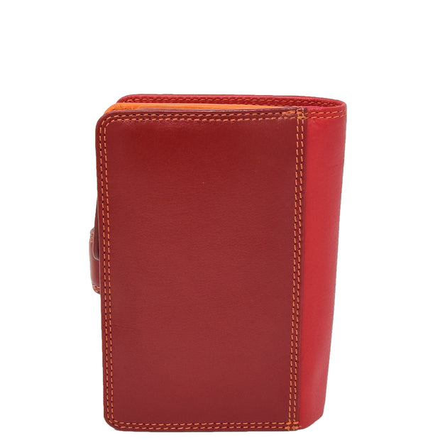 Womens Leather Booklet Evening Clutch Purse Multi Colour Wallet AVB51 Red Back