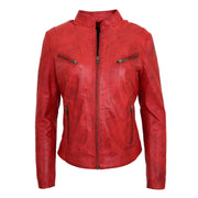 Womens Fitted Leather Biker Jacket Casual Zip Up Coat Jenny Red Front