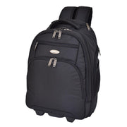 Wheeled Backpack Cabin Hand Luggage Travel Bag Hiking Rucksack Jenkins Black Front