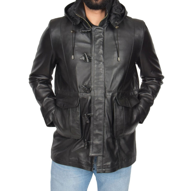 Mens Duffle Leather Coat Classic Horn Toggles Jacket Mack Black Front