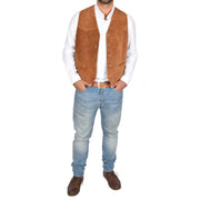 Mens Real Suede Leather Waistcoat Classic Vest Gilet Cole Tan Full