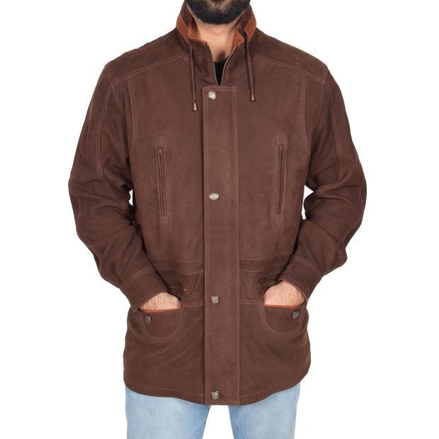 Gents Nubuck Leather Parka Coat Henry Brown zip up