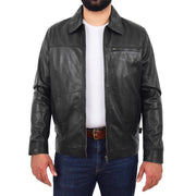 Mens Leather Jacket Genuine Soft Black Zip Fasten Box Style Sean Open 1