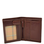 Gents Real Leather Bifold Large Wallet Cards Notes Coins Purse AVZ3 Brown Open 1