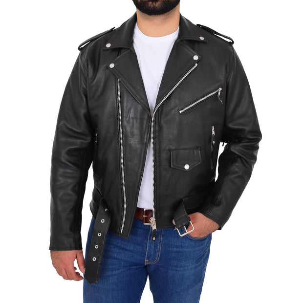Mens Black Cowhide Biker Jacket With Leather Fringes Belt Tasselled Coat Bill Open 3