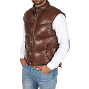 Mens Quilted Leather Waistcoat Body Warmer Gilet Jeff Brown